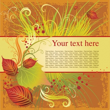 nature background grass leaves decor retro colorful sketch