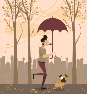 autumn theme man pet umbrella falling leaves decor