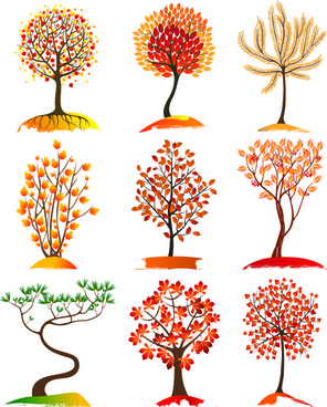 autumn tree icons vector