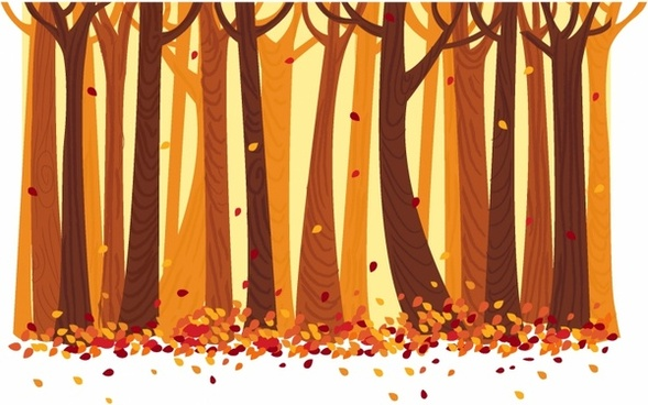 Autumn Trees and Leafs Background