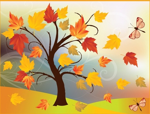 autumn painting tree leaves wind butterflies icons decor
