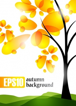 autumn background yellow floral tree sketch