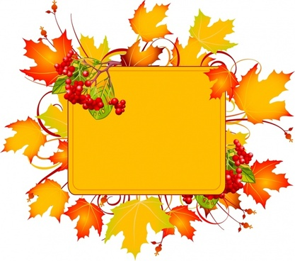 autumn frame template orange leaves red fruits decor