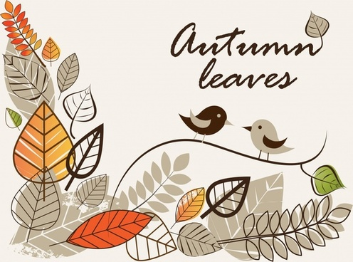 autumn background template handdrawn classic leaves birds sketch