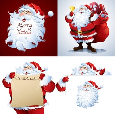 christmas background templates cute santa claus icons