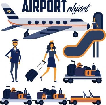 aviation design elements airplane pilot luggage stewardess icons