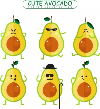 avocado emotional icons cute stylized style colored flat