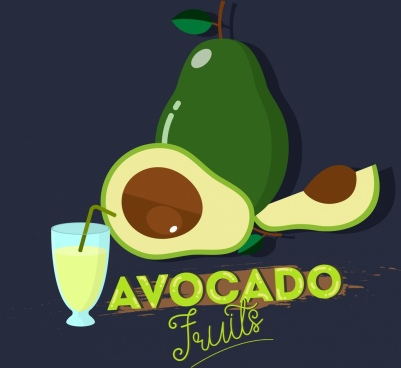 avocado fruit advertisement juice icon calligraphy design