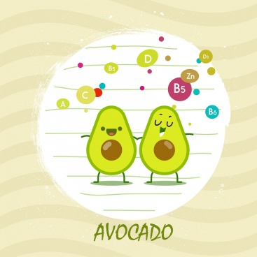 avocado fruit advertising vitamin icons stylized cartoon decor