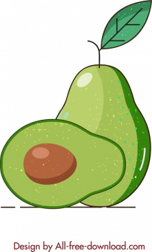avocado icon flat slice sketch retro design