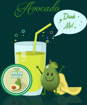 avocado juice advertisement stylized cartoon design