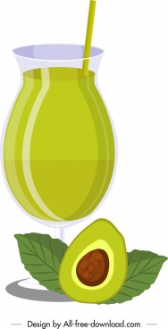 avocado juice advertising background jar fruit icons decor