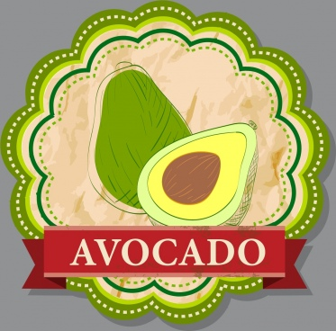 avocado logotype green circle sketch hand drawn style