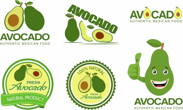 avocado logotypes various green shapes isolation