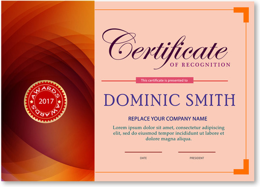 award certificate design with abstract pink background