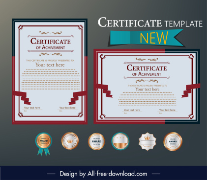 award certificate template elegant classic red white decor