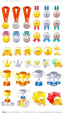 award cup and medal design vectors