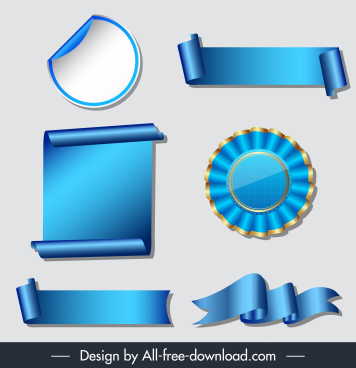 award design elements modern elegant blue 3d shapes