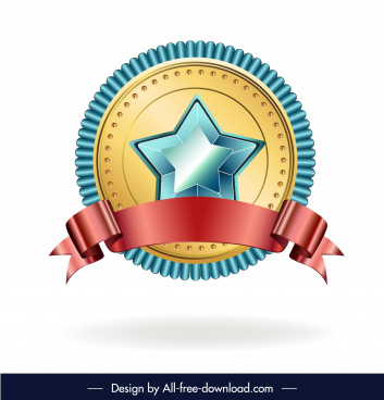 award medal template elegant circle star ribbon decor