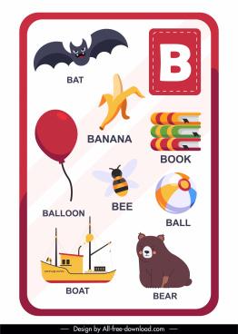 b alphabet education template colorful emblems sketch