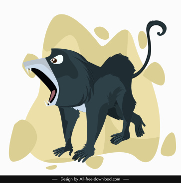 baboon primate icon agressive gesture cartoon character design