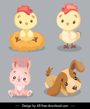 baby animals icons cute chick bunny puppy sketch