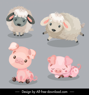 baby animals icons sheep pig species sketch