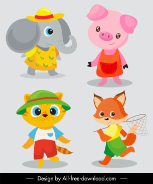 baby animals icons stylized cartoon characters