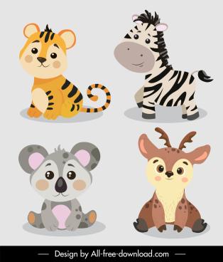 baby animals icons tiger zebra reindeer koala sketch