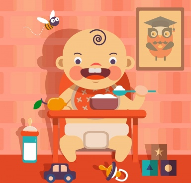 baby background cute kid eating icon multicolored decor