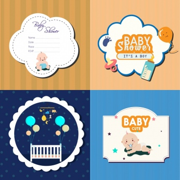 baby badges collection various flat decorative shapes