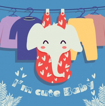 baby banner hanging clothes elephant icon