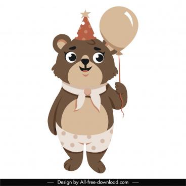 baby bear icon cute cartoon character sketch