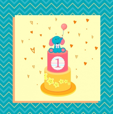 baby birthday background cream cake cartoon elephant ornament