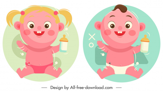baby boy girl icons cute cartoon characters sketch