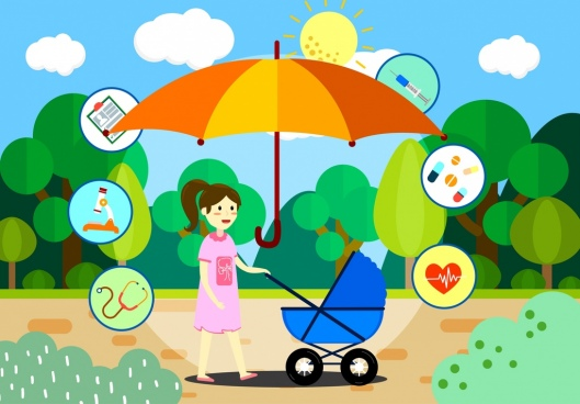 baby care design elements mother trolley umbrella icons