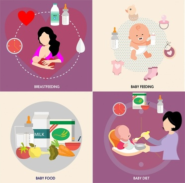 baby care sets vector illustration in colored style
