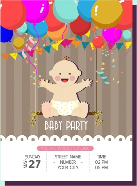 baby celebration party banner colorful balloons kid ornament
