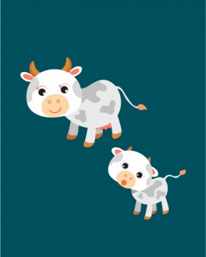 baby dairy cow and mom very cute vector family