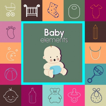 baby design elements various flat icons isolation