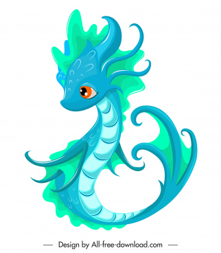 baby dragon icon cute cartoon sketch blue decor
