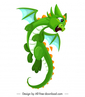 baby dragon icon green decor joyful gesture sketch