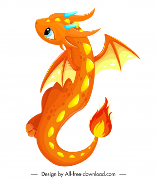 baby dragon icon orange decor cute cartoon character