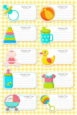 baby elements message card vector