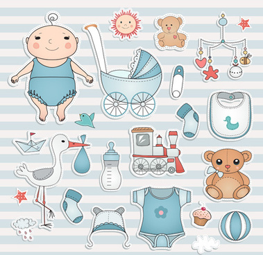 baby elements sticker vector