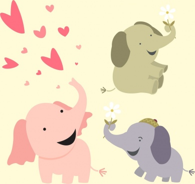 baby elephants background cute cartoon icons
