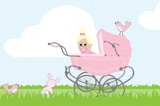 baby girl with stroller cartoon vector illustration