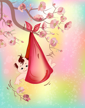 baby hange in a tree flower with red bib