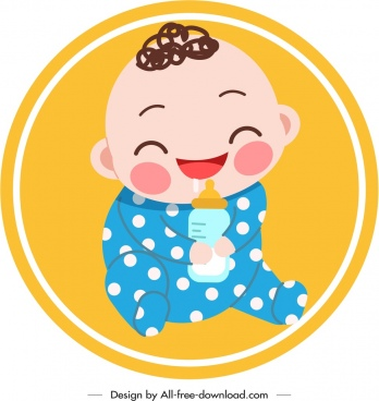baby icon cute infant kid sketch handdrawn design