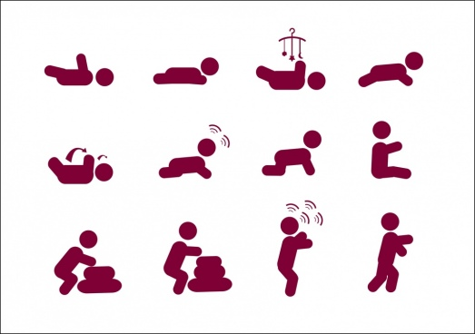 baby icon sets various postures isolation
